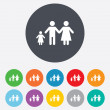 Stock Photo: Complete family with one child sign icon.