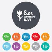 8 de março de ícone de sinal de dia das mulheres. símbolo da flor. — Fotografia Stock