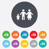 Complete family with one child sign icon. — Photo