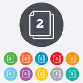 In pack 2 sheets sign icon. 2 papers symbol. — Stock Photo