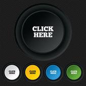 Click here sign icon. Press button. — Stock Vector