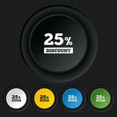 25 percent discount sign icon. Sale symbol. — Stock Vector
