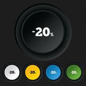 20 por ciento de descuento icono de signo. venta símbolo. — Vector de stock