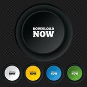 """скачайте сейчас икона. кнопка """"загрузить. — Cтоковый вектор"""