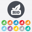 Stock Photo: Bio product sign icon. Leaf symbol.
