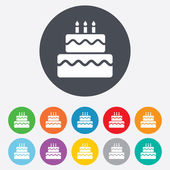 誕生日ケーキの記号アイコン。燃えるろうそくのシンボル — ストック写真