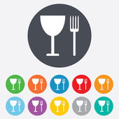 Eat sign icon. Cutlery symbol. Fork and wineglass. — Stok fotoğraf