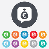 Money bag sign icon. Euro EUR currency. — Stock Photo