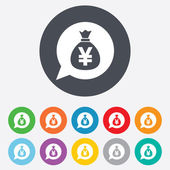 Money bag sign icon. Yen JPY currency. — Stock Photo
