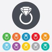 Jewelry sign icon. Ring with diamond symbol. — Stock Photo