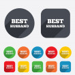 Stock Vector: Best husband sign icon. Award symbol.