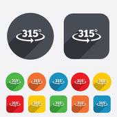 315 graden teken hoeksymbool. meetkunde-wiskunde-symbool — Stockvector