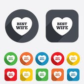 Best wife sign icon. Heart love symbol. — Stock Vector