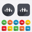 Complete family with two children sign icon. — Stock Vector