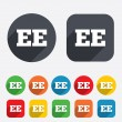 Stock Vector: Estonilanguage sign icon. EE translation.