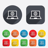 Laptop sign icon. Notebook pc with globe symbol — Stockvector