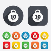 Weight sign icon. 10 kilogram (kg). Sport symbol — Stock Vector
