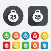 Weight sign icon. 25 kilogram (kg). Sport symbol — Stock Vector