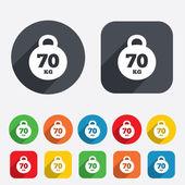 Weight sign icon. 70 kilogram (kg). Sport symbol — Stock Vector