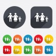 Stock Vector: Complete family with one child sign icon.