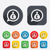 Money bag sign icon. Pound GBP currency. — Stock Vector