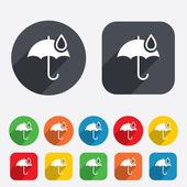 Umbrella sign icon. Water drop symbol. — Stock Vector