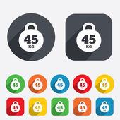 Weight sign icon. 45 kilogram (kg). Sport symbol — Stock Vector