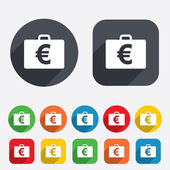 Case with Euro EUR sign. Briefcase button. — Stock Photo