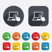 Touch screen laptop sign. Hand pointer symbol. — Stock Photo