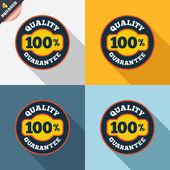 100% quality guarantee icon. Premium quality. — Vetorial Stock