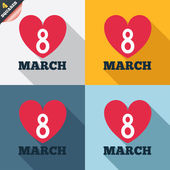 8 March Women's Day sign icon. Heart symbol. — Stock vektor