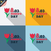 8 March Women's Day sign icon. Flower symbol. — Stock vektor