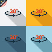 Angle 30 degrees sign icon. Geometry math symbol — Vettoriale Stock