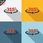 Angle 315 degrees sign icon. Geometry math symbol — Vettoriale Stock