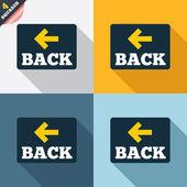 """знак значок стрелки. кнопка """"назад"""". символов навигации — Cтоковый вектор"""