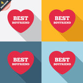 Best boyfriend sign icon. Heart love symbol. — Stok Vektör