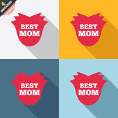 Best mom sign icon. Flower symbol. — Stock Vector
