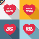 Best mom sign icon. Heart love symbol. — Stockvektor