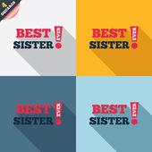 Beste zuster ondertekenen ooit pictogram. award symbool. — Stockvector