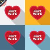 Best wife sign icon. Heart love symbol. — Stok Vektör