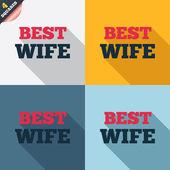 Best wife sign icon. Award symbol. — Stok Vektör