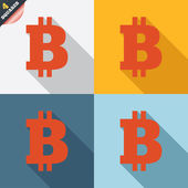 Bitcoin sign icon. Cryptography currency symbol — Vector de stock