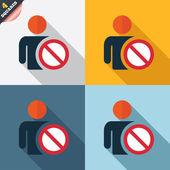 Icona segno della lista nera. utente non consentito simbolo. — Vettoriale Stock