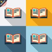 Book sign icon. Open book symbol. — Vettoriale Stock