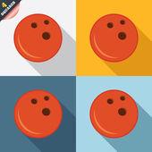 Bowlingkugel zeichen symbol. schüssel-symbol. — Stockvektor
