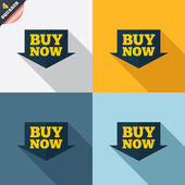 Buy now sign icon. Online buying arrow button. — Stok Vektör