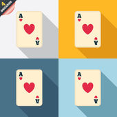 Casino sign icon. Playing card symbol — Vecteur