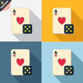Casino sign icon. Playing card with dice symbol — Stok Vektör