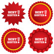 Stock Vector: Best sister ever sign icon. Award symbol.