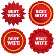 Stock Vector: Best wife sign icon. Award symbol.